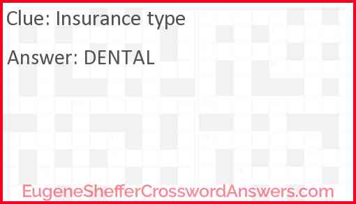 Insurance type Answer
