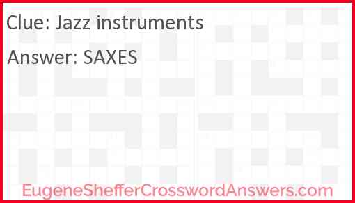 Jazz instruments Answer