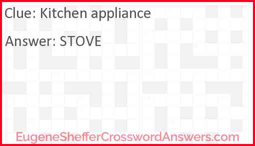 Kitchen appliance Answer