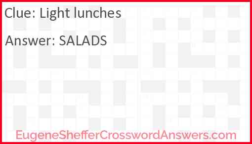 Light lunches Answer
