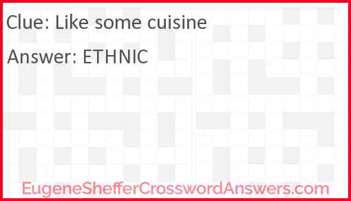 Like some cuisine Answer