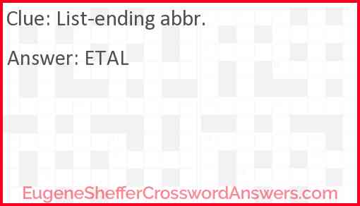 List-ending abbr. Answer
