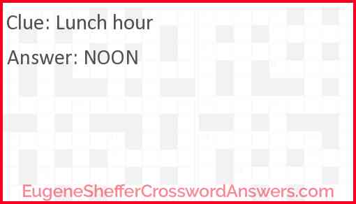 Lunch hour Answer
