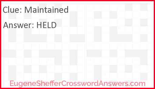 Maintained Answer