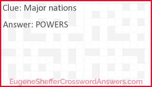 Major nations Answer