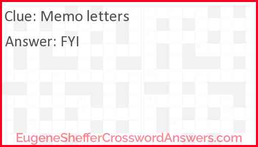 Memo letters Answer
