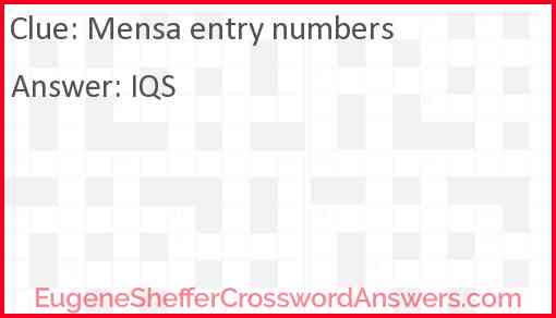Mensa entry numbers Answer