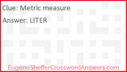 Metric measure Answer