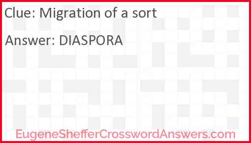 Migration of a sort Answer