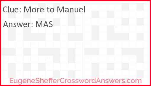 More to Manuel Answer