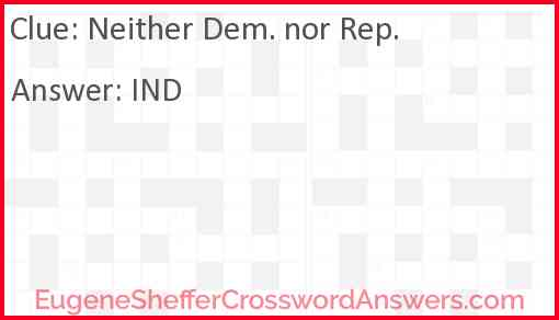 Neither Dem. nor Rep. Answer