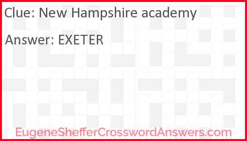 New Hampshire academy Answer