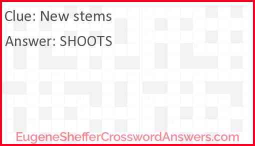 New stems Answer