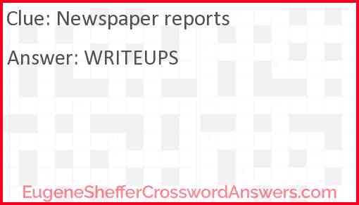 Newspaper reports Answer