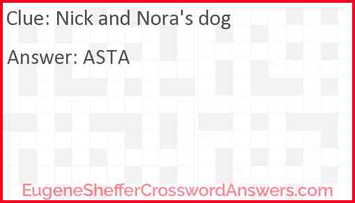 Nick and Nora's dog Answer