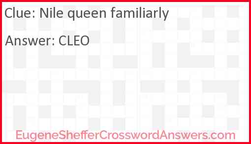 Nile queen familiarly Answer