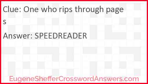 One who rips through pages Answer