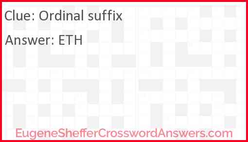 Ordinal suffix Answer