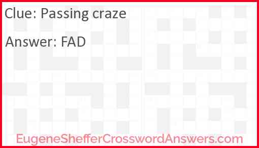Passing craze Answer