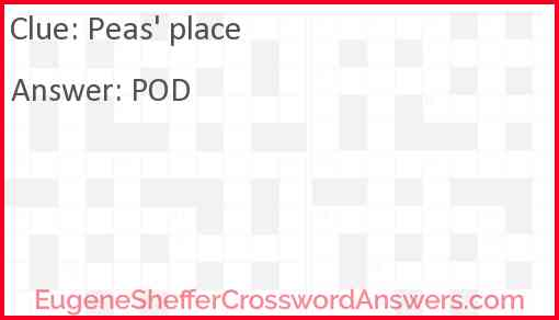 Peas' place Answer
