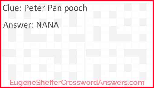 """""""Peter Pan"""" pooch Answer"""