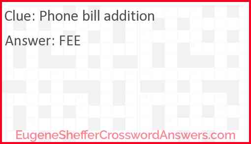 Phone bill addition Answer