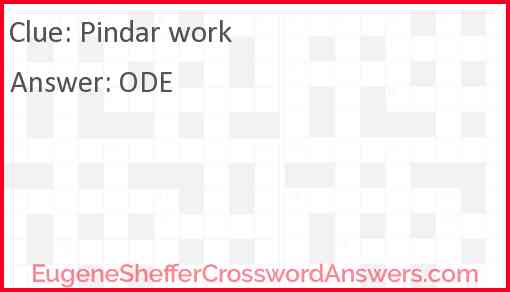 Pindar work Answer