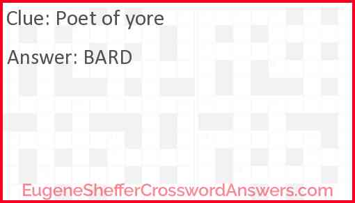 Poet of yore Answer