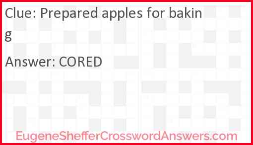 Prepared apples for baking Answer