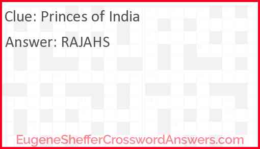 Princes of India Answer