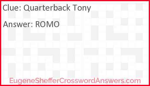 Quarterback Tony Answer