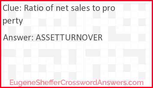Ratio of net sales to property Answer