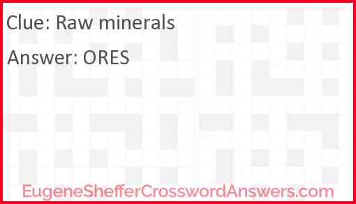 Raw minerals Answer