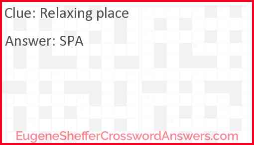 Relaxing place Answer