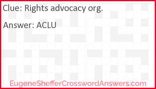 Rights advocacy org. Answer