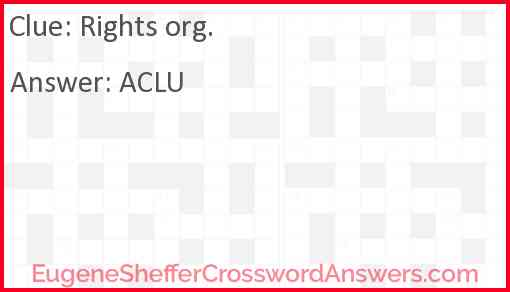 Rights org. Answer