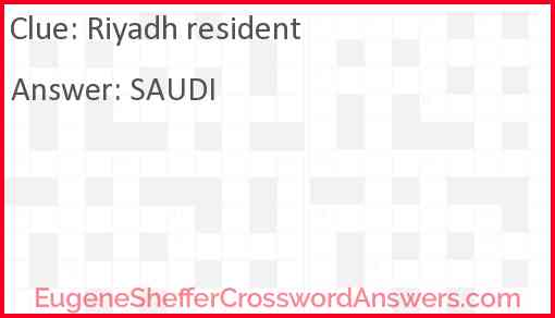 Riyadh resident Answer