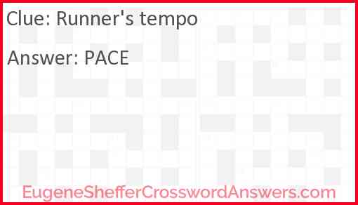 Runner's tempo Answer