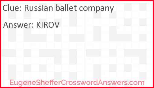 Russian ballet company Answer