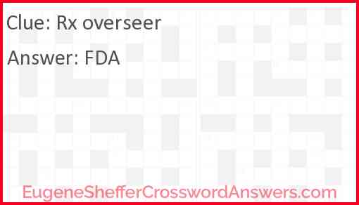 Rx overseer Answer