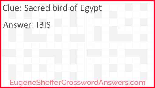 Sacred bird of Egypt Answer