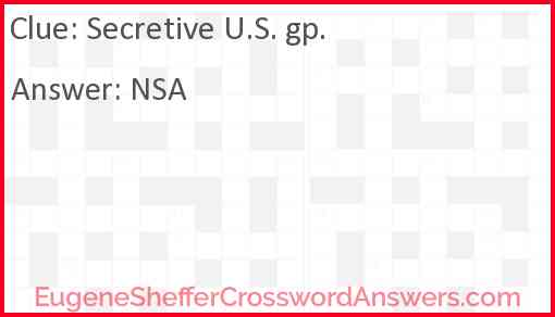 Secretive U.S. gp. Answer