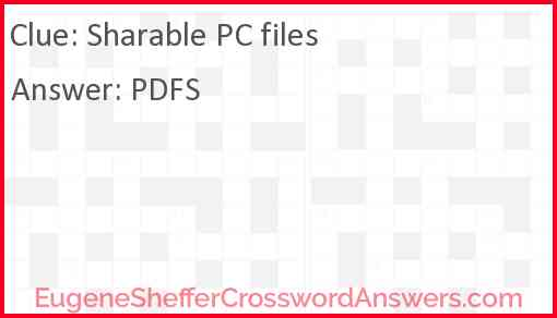 Sharable PC files Answer