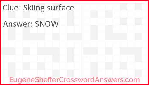 Skiing surface Answer