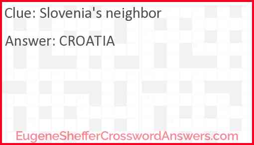 Slovenia's neighbor Answer