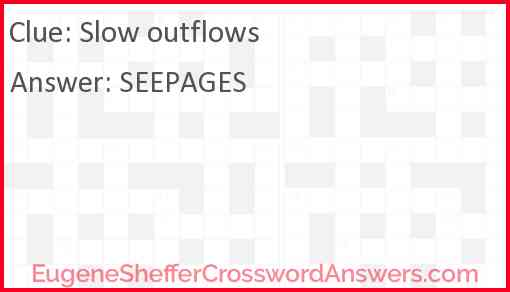 Slow outflows Answer