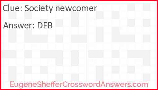 Society newcomer Answer
