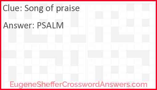 Song of praise Answer