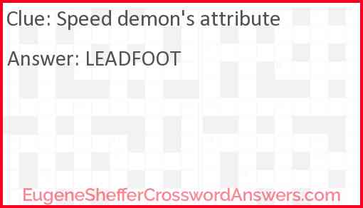 Speed demon's attribute Answer