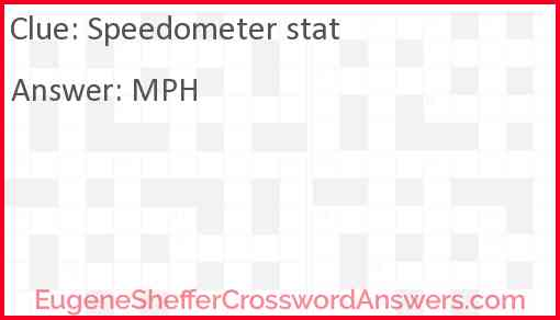 Speedometer stat Answer